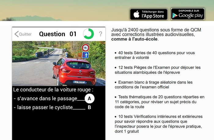 application mobile code de la route
